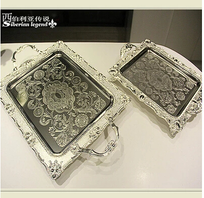 3726cm rectangle silver metal tray metal cake trays decorative serving trays food serving plate ft020 - Decorative Serving Trays
