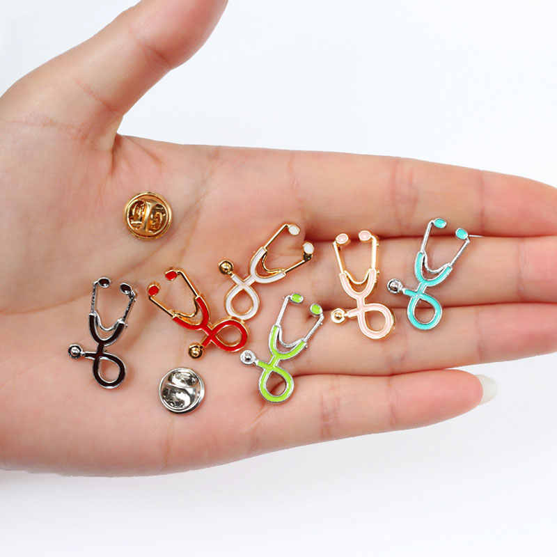Nurse Pins Medical brooches for women Fashion Colorful Metal Stethoscope Enamel Jewelry Men Jackets Badges Accessories hijab Pin