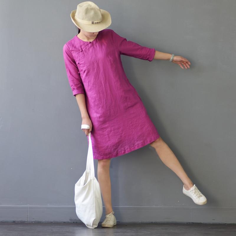 SCUWLINEN 2018 Vestidos Summer Dress Vintage Solid Three Quarter Handmade Plate Buttons 100% Ramie Dress Short Casual Robe S304 vintage casual handmade 100