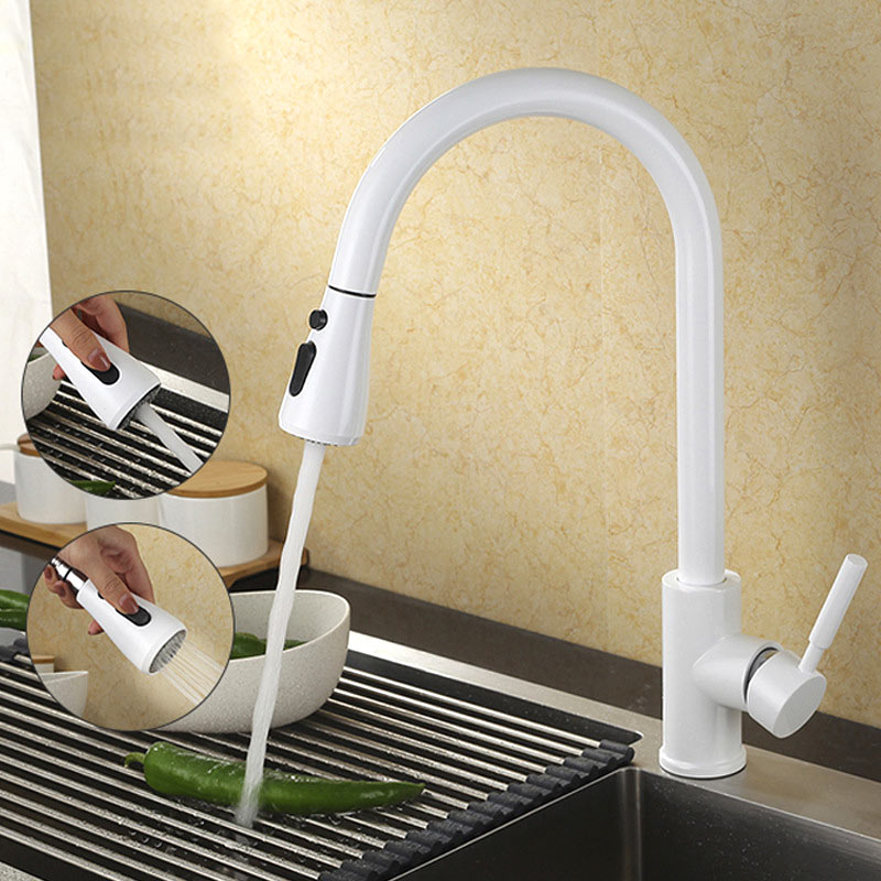 Copper bifunctional smoked pull out hose check kitchen faucet can rotate sink dish of hot and cold water tap 360 degree dish best served cold