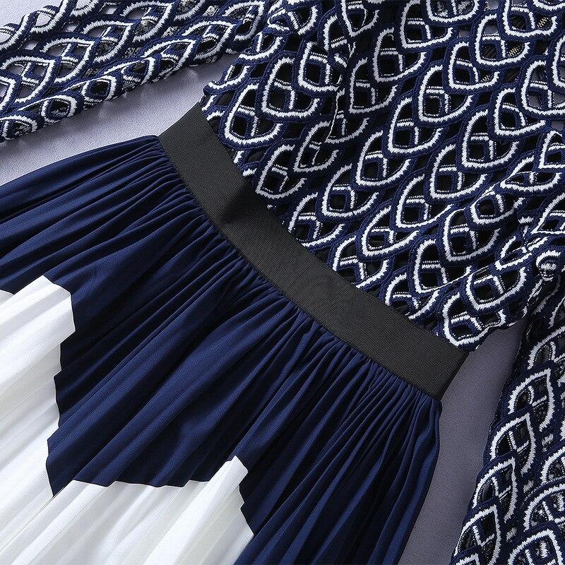 Qualité Bleu Piste Longueur Manches D'été Genou Pour Qyfcioufu Creux Femmes Imprimer Robe 2019 Plissée Fashions Nouveau À Longues Designer AwqxqUPn7