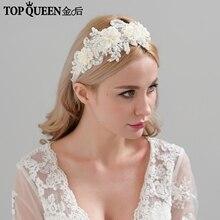 TOPQUEEN H346 Accesorios nupciales para el cabello de moda para Mujer Flor de encaje con cuentas Diadema con perla novia joyería de pelo de alta calidad