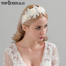 TOPQUEEN H346 Fashion Bridal Hair Accessories For Women lace Flower with beaded Pearl Hairband Bride High Quality Hair Jewelry