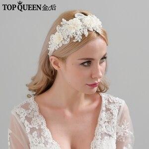 Image 1 - TOPQUEEN H346 Mode Braut Haar Zubehör Für Frauen spitze Blume mit perlen Perle Hairband Braut Hohe Qualität Haar Schmuck
