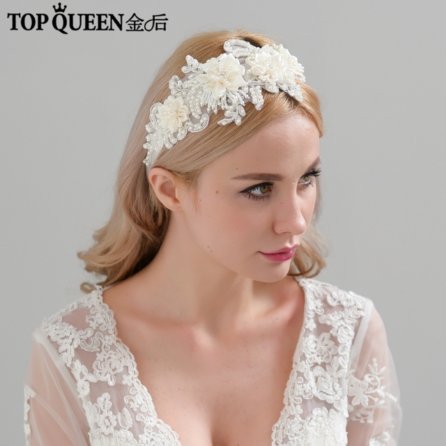 TOPQUEEN H346 Mode Braut Haar Zubehör Für Frauen spitze Blume mit perlen Perle Hairband Braut Hohe Qualität Haar Schmuck