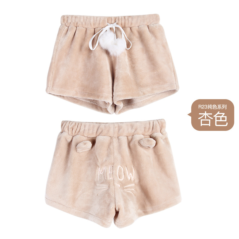 Girls Shorts Thick Bottom Soft Coral Fleece Cute Multicolor Cat\'S Embroidered Drawstring Shorts Harajuku Sleep Bottoms