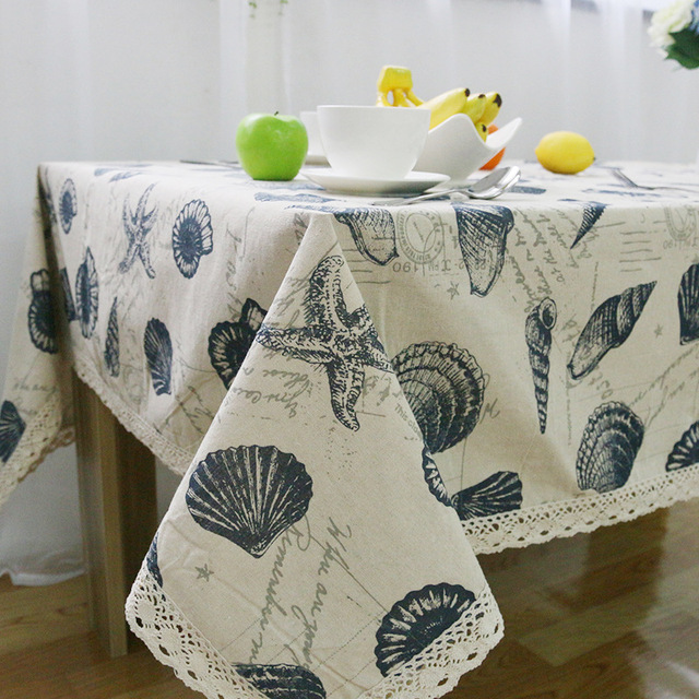 Cotton Linen Marine Shell Table Cloth Europe Style Rectangular Lace Edge  Tablecloths Wedding Outdoor Holiday Tablecloths