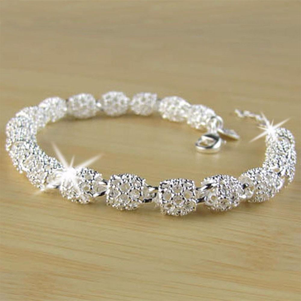 Beautiful Elegant Silver Bracelet Chain Bracelet Bangle For Women Lady Fashion Jewelry