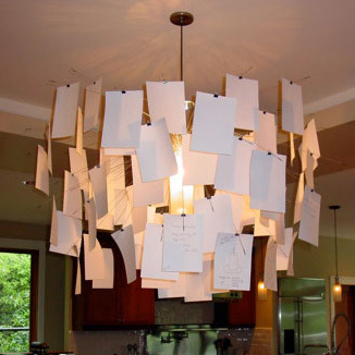 Ingo Maurer Notes Modern Creative Design DIY Newspaper Photo Chandelier Lamp  Living Room Decorative Art Works