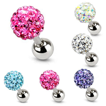 Punk Crystal Ball Stud Earrings Shellhard Vintage Cartilage Piercing Tragus Helix Bar Earring brincos Female Women Charm Jewelry