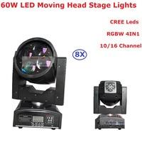 Большие скидки 8xlot 60 Вт moving head light 10/16 CHS Привет-Качество 4x10 Вт RGBW 4IN1 луч света для профессиональных этап DJ освещения