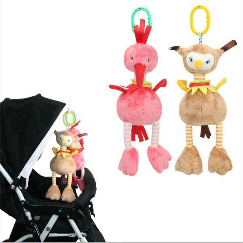 Baby Crib Stroller Plush Flamingo Ostrich Style Hanging Rattle Ring Bell Stroller Accessories Soft Playpen Bed Pram Hanging Toy