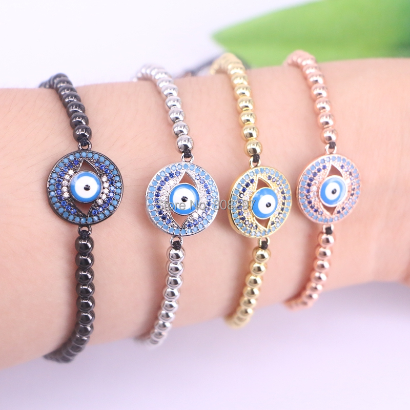 10Pcs Micro Pave CZ Turkish Style Connector Charm & Round Copper Beads Bracelet Braided Macrame handcraft Jewelry