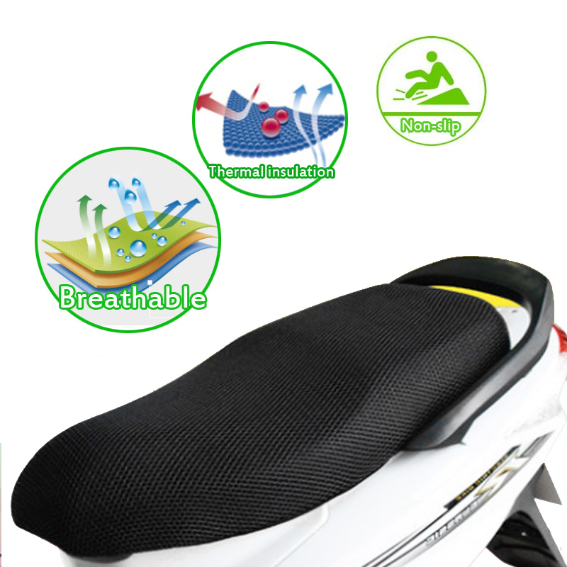 Motorcycle Scooter E-bike 3D Seat Cover Summer Sun Proof Non-slip Breathable Scooter Sun Pad Heat Insulation Cushion Cover