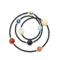 Lii Ji 7 Chakras Aquamarine Black Spinel Citrine Kyanite Amethyst Prehnite Yoga Bracelet Natural Gemstone Delicate Jewelry
