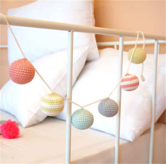 1pc Crochet Ball Garlands Wedding Decoration Baby Bed Wall Decorations Nursery Gifts Toy Suspension Crafts Photography