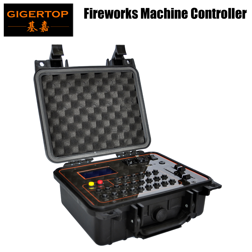 Gigertop TP-D29 Professional Fireworks Machine Controller Rechargable Li-Battery 1000MHA Support DMX / Wireless Control USB Led dhl shipping battery working cold fireworks machine console dmx wireless 2 4g usb led lamp speed fireworks spary shape button