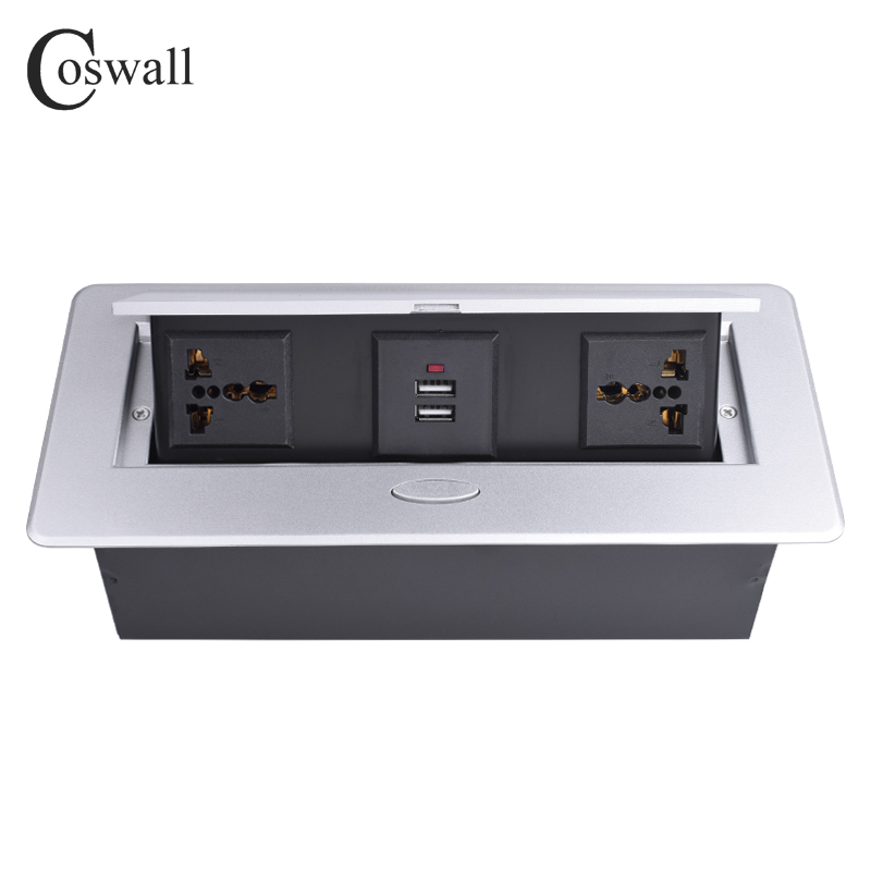 COSWALL Zinc Alloy Plate Slow POP UP 2 Universal Socket For EU UK US Israel Chile Italy Dual USB Charge Port Table Outlet
