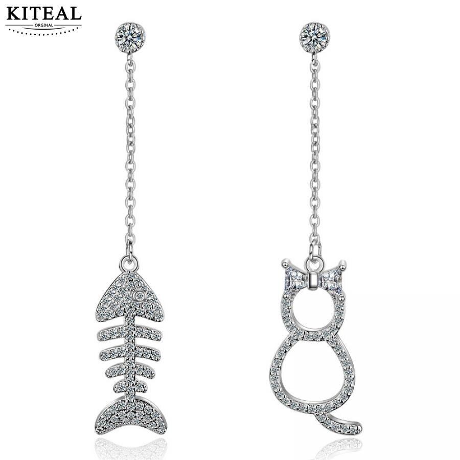 Asymmetric Silver Plated Earrings  Cat Fish Ear Stud Earrings Lady Jewelry~PL