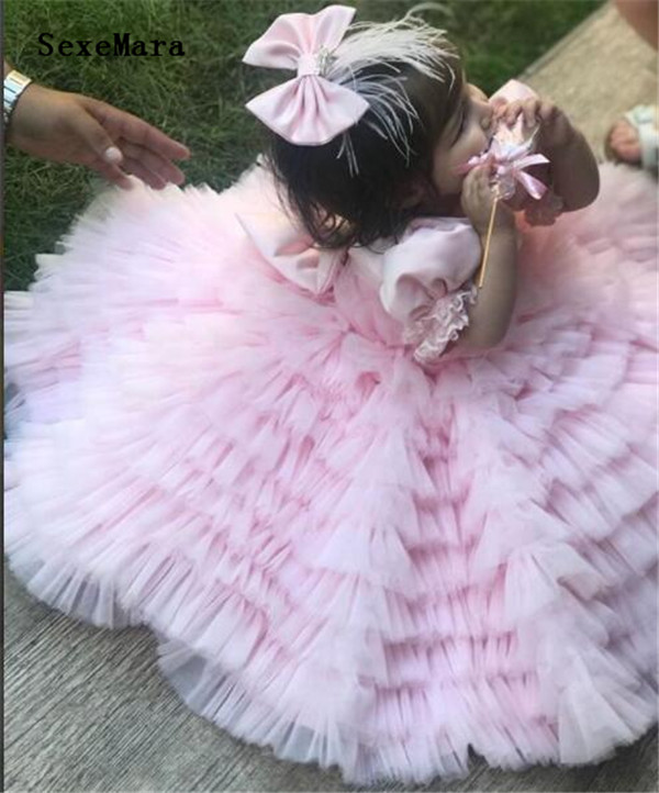 Cute Little Girls Birthday Party Gowns Short Sleeves Tiered Ruffles Pink Tulle Satin Celebration Gown With Headpiece Custom MadeCute Little Girls Birthday Party Gowns Short Sleeves Tiered Ruffles Pink Tulle Satin Celebration Gown With Headpiece Custom Made