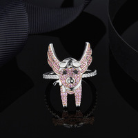 [MeiBaPJ]Real 925 Sterling Silver Pink Fly Pig Animal Ring for Women Fashion Charm Party Jewelry