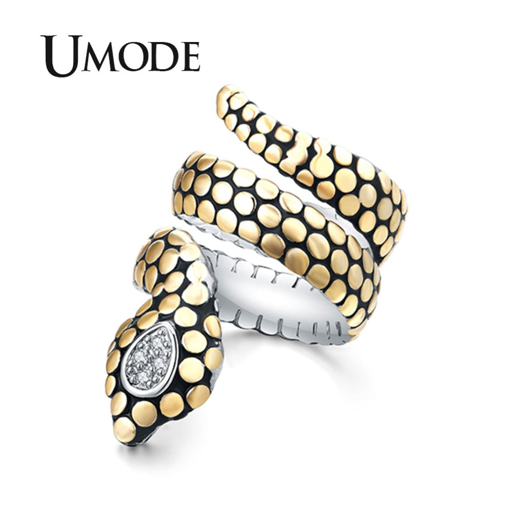 UMODE Luxury Brand Ladies Crystal Cubic Zirconia Snake Rings for Women Engagement Vintage