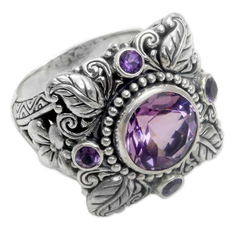 OMHXZJ ขายส่งยุโรปผู้หญิงผู้หญิงแฟชั่นผู้หญิงงานแต่งงานของขวัญเงินใบสีม่วงดอกไม้ Amethyst AAA Zircon Taiyin แหวน RR320