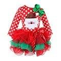 Moda Princesa de los Bebés de Navidad de Lujo Bola Vestido Rojo de Navidad Niñas Vestido de Navidad Hombre de la Nieve de Invierno de Punto Vestidos de Navidad Parte