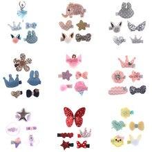 Grampos de cabelo, 5 peças de cor aleatória para cachorro e gatinho, animais de estimação, fofos, floral, sólido, algodão, flor, borboleta, grampos de cabelo barrette