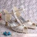 Personalizado Handmade Do Marfim sapatos de Casamento Salto Baixo com Cristal Diamante Pérola Peep Toe Tamanho 34 ~ 42