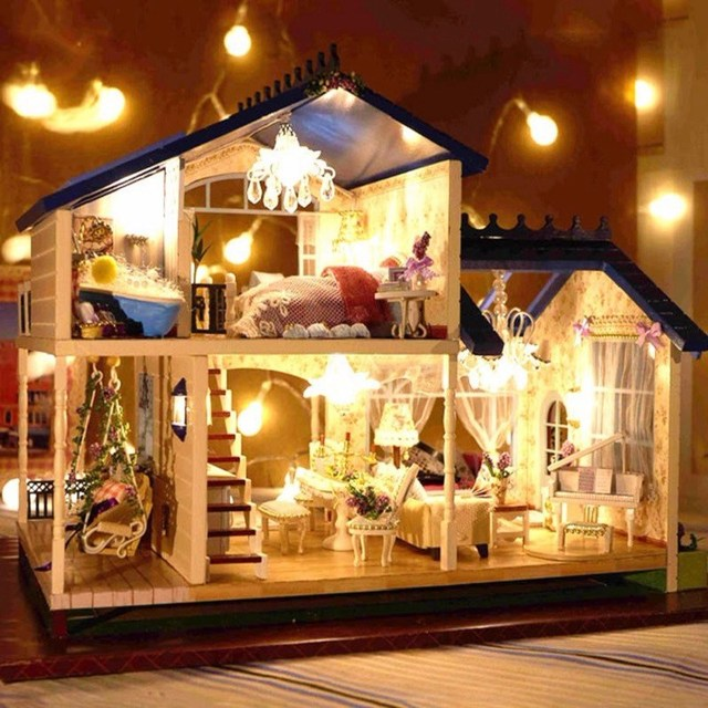 Wooden Handcraft Miniature Provence Dollhouse LED Light&Music with Cover Doll House Toy
