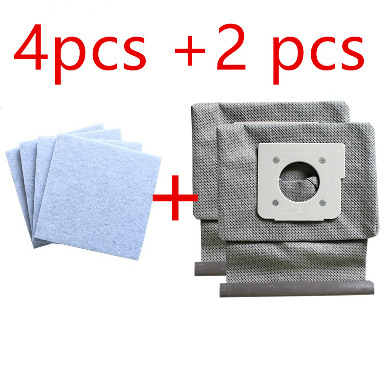 4*motor cotton filter +2*Washable LG vacuum cleaner bags dust bag replace for LG V-743RH V-2800RH V-2800RB V-2800RY V-2810 lg v c7920htr