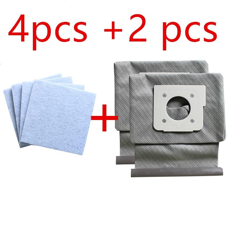4*motor Cotton Filter +2*Washable LG Vacuum Cleaner Bags Dust Bag Replace For LG V-743RH V-2800RH V-2800RB V-2800RY V-2810