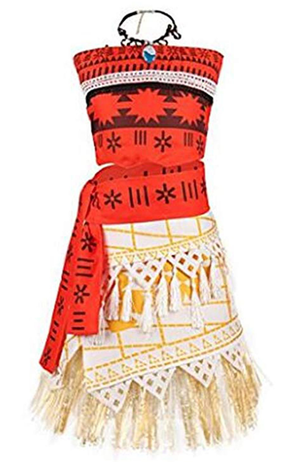 Moana Cosplay Costume Girl Summer Dress with Necklace Children Cosplay Princess Beach Party Cosplay Costume Moana Beach Dress