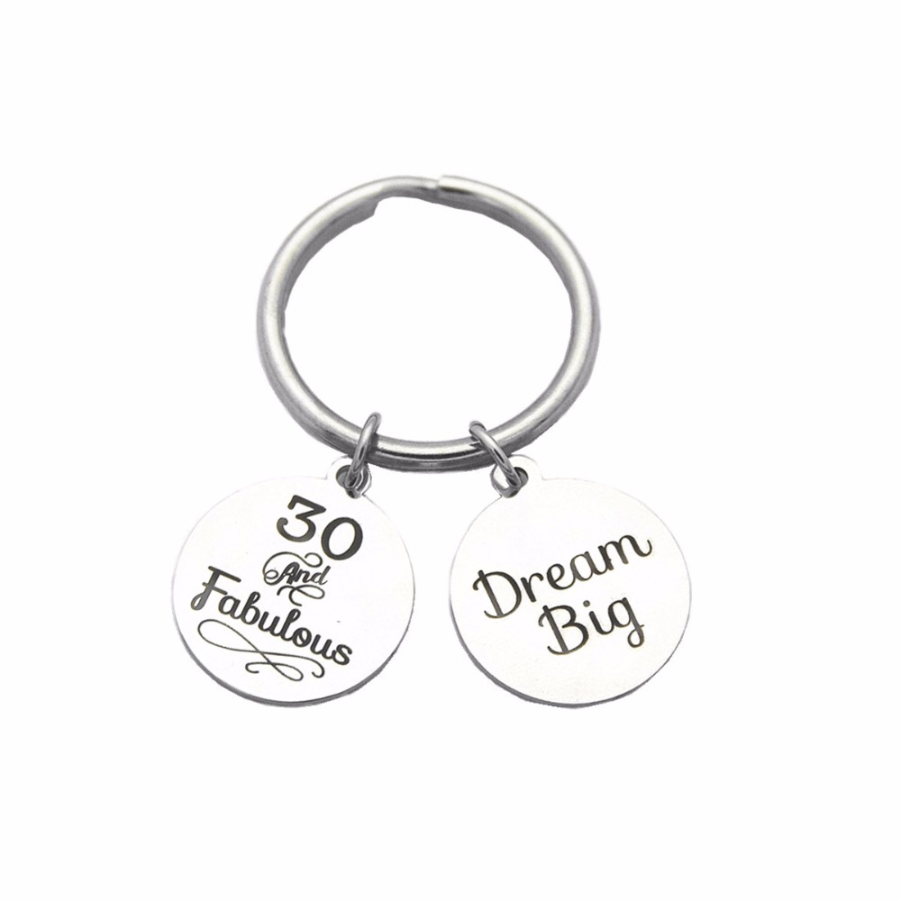 Stainless Steel 30th Birthday Gift Key Ring Inspiration Dream Big Charms Keychain For Sister Mom Dad Brother And Best Friend