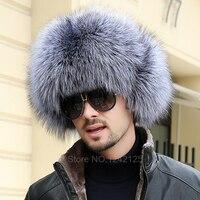 New Winter Russia Parent Child Boy Men Women Real Fox Fur Hat Genuine Leather Top Whole