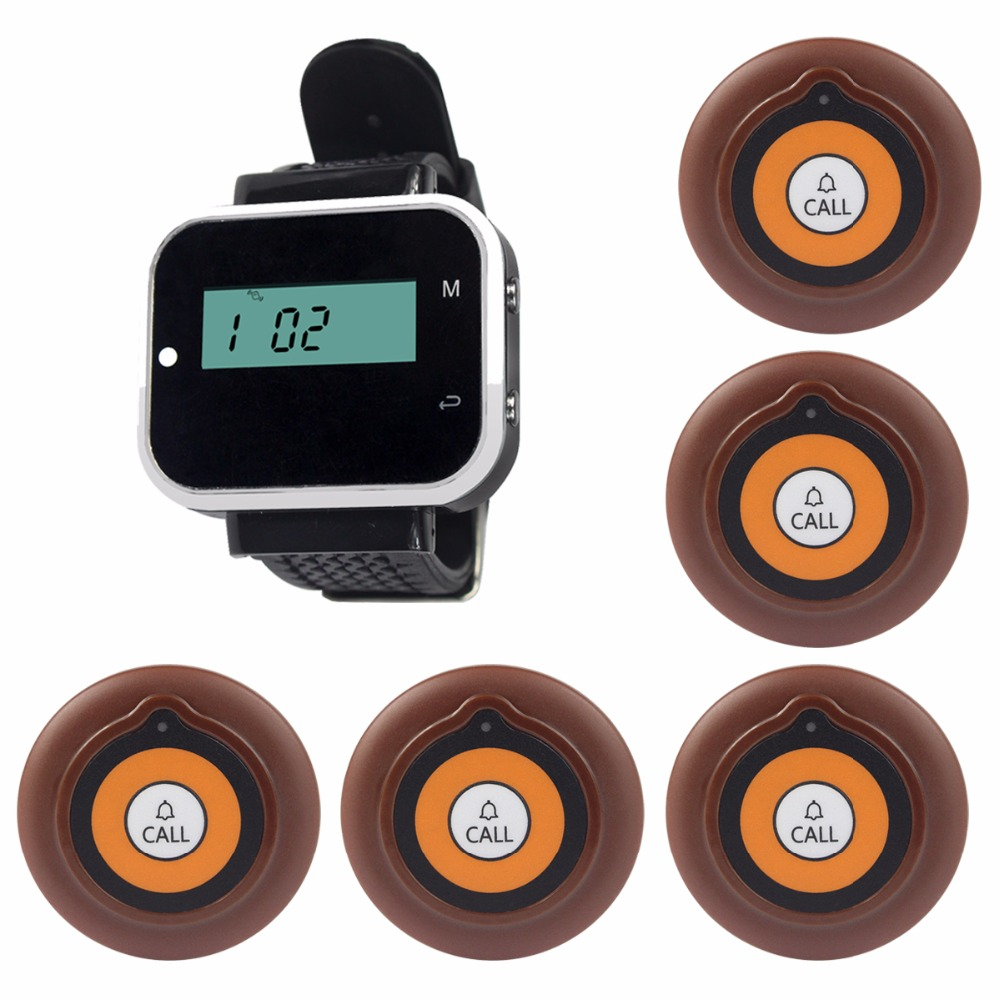 Restaurant Guest Calling Paging System Wireless Waiter Call Pagers For Cafe KTV Bar With Waterproof Transmitter Button F3229A hotel waiter call pagers wireless guest calling paging system for restaurant cafe ktv bar with one key transmitter button f3288b
