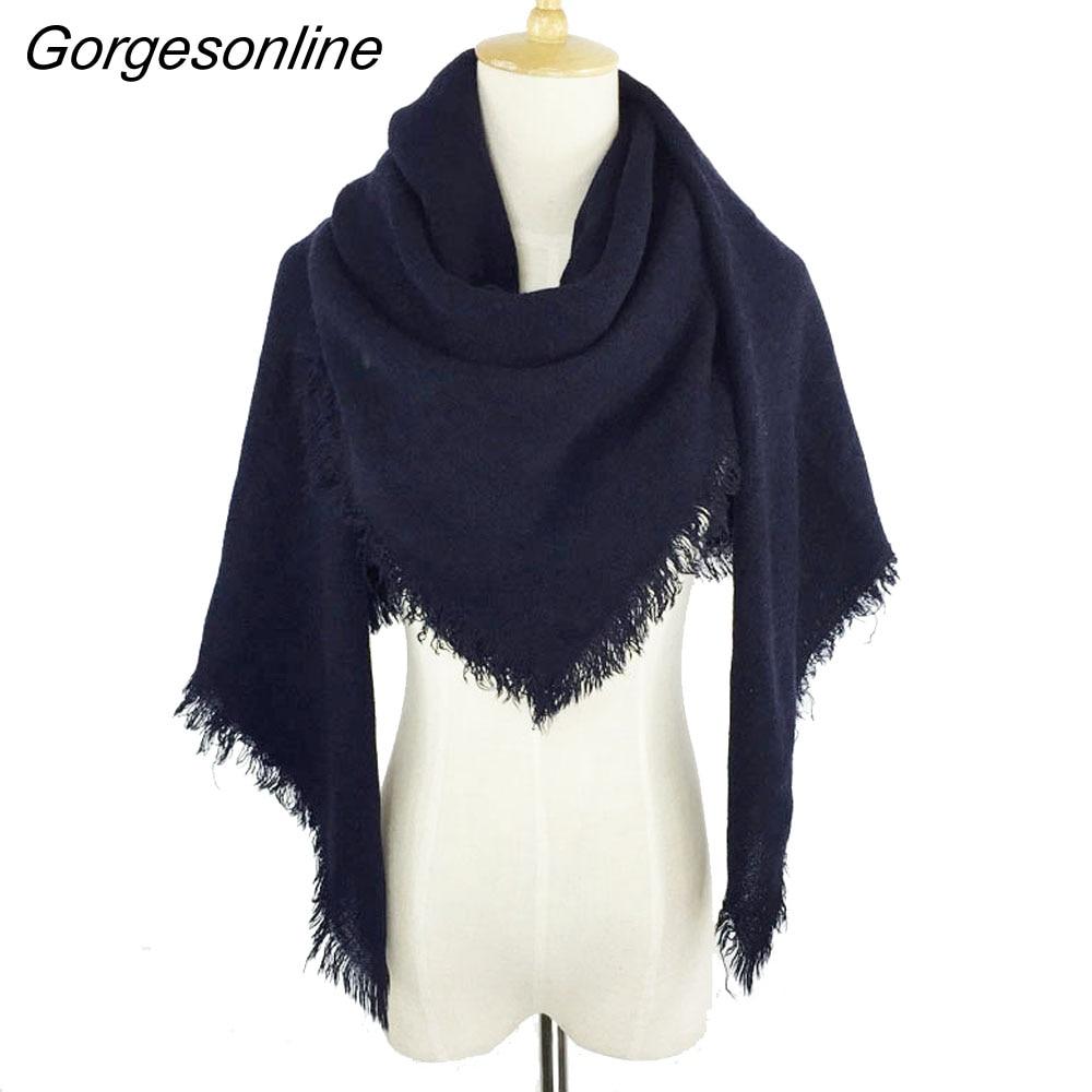 2017 новое поступление негабаритных скор шали палантины Зима Акриловые Пашмины довольно шарф женщин сплошной цвет ...