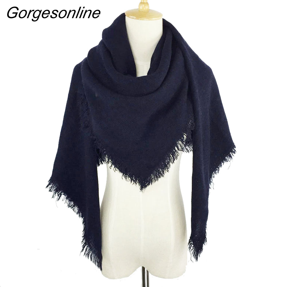 2017 New Arrival Oversize Sqaure Shawl Wraps Winter Acrylic Pashmina Pretty Women Scarf Solid Color