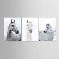 3 개 흰색 말 거실 홈 오피스 장식 현대 말 그림 동물 캔버스 아트 인쇄