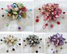 Commercio all'ingrosso 5 Colori differenti Shell Flower & Pearl FW Spille/Pins(China)