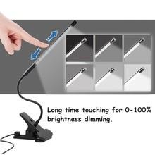 USB LED Lamp Smart Touch Portable  Flexible Eye-care LED Reading Light Adjustable Solid Clip Desk Lamp for Laptop Bedroom Study