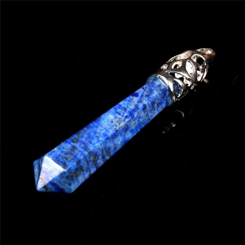 Természetes Lapis Lazuli Kék drágakövek Hosszú pálca Pont inga medál, Hatszög gyógyító Chakra Reiki Druzy kvarc inga medál
