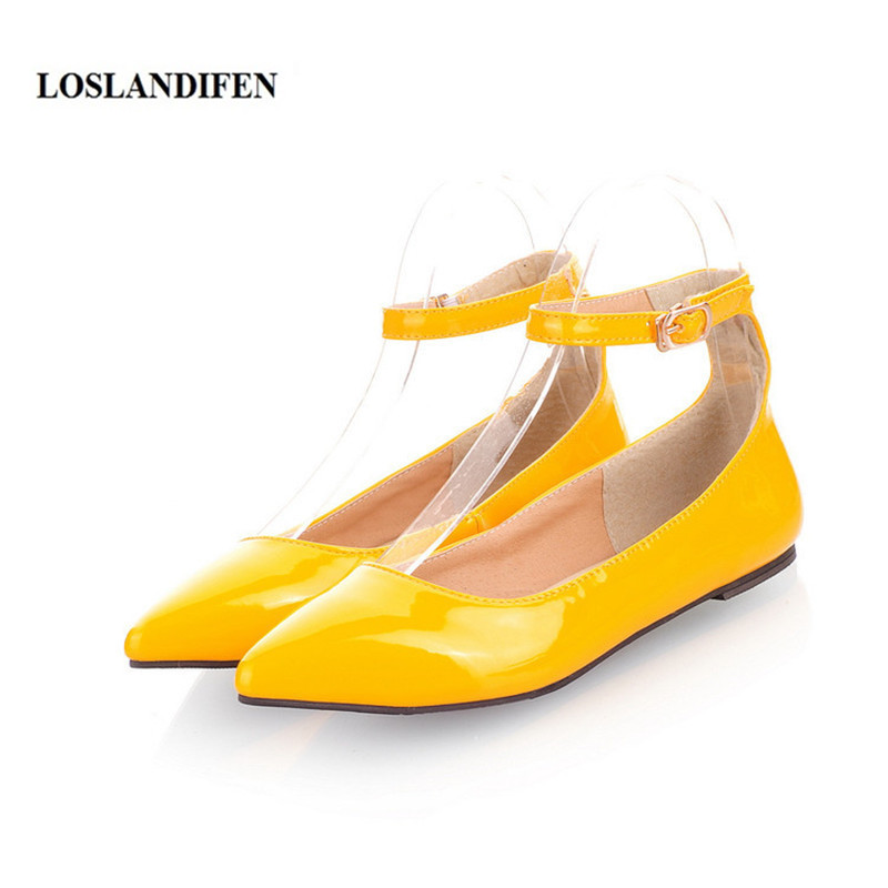 LOSLANDIFEN Plus size 34-49 Ankle Wrap Women's Flats Pointed Toe Ladies Shoes Patent Leather Mujer Zapatos brand new hot sale blue red yellow black green glossy patent leather women nude flats ladies shoes av123 plus big size 49 10 13