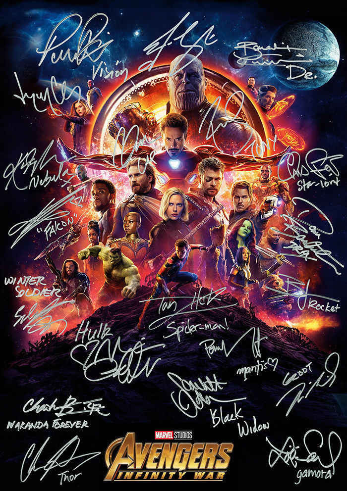 Avengers Infinity War signature Movie Art Wall Decor Silk Print Poster