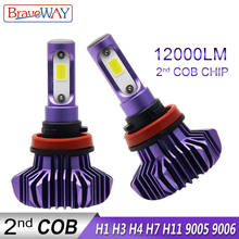 BraveWay 12000LM H4 H7 Led Headlight Bulbs Hi/Lo Beam Light 9005 9006 HB3 BH4 Auto Lamps H1 12V H11 H9 H8 Bulb