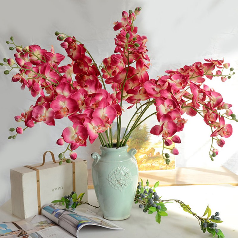 Artificial fuchsia wedding decorative flowers butterfly for Floral decorations for home