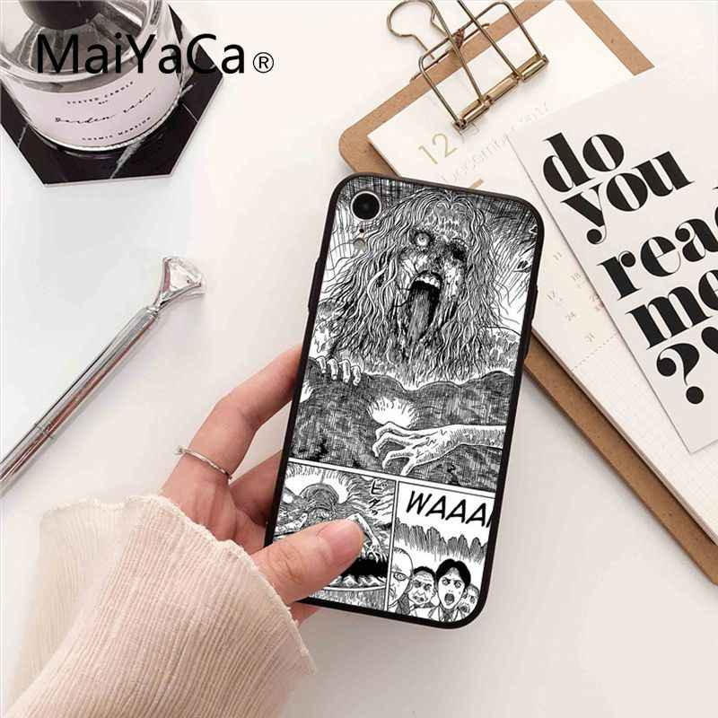 Maiyaca Junji Ito Tees Horror Soft Silicon black Phone Case for iPhone X XS MAX 6 6S 7 7plus 8 8Plus 5 5S XR