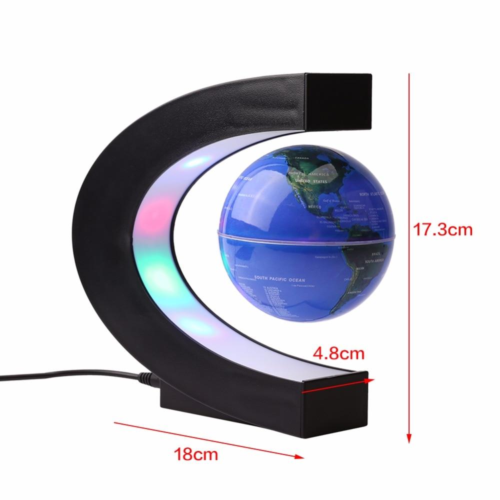 C Shape LED World Map Light Decor Magnetic Levitation Floating Globe World Map for Desk Decoration Novel Birthday Home Night