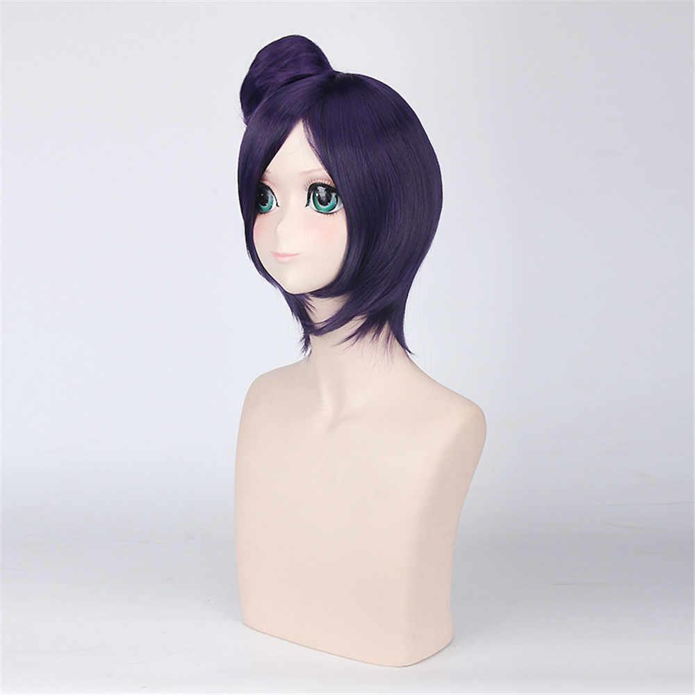 Наруто Конан косплэй Искусственные парики для женщин вечерние 40 см короткие прямые синтетические волос с булочкой Рождественский подарок темно